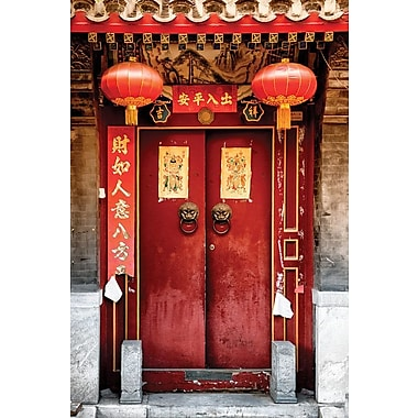East Urban Home 'Traditional Red Door' Photographic Print on Wrapped Canvas in Red