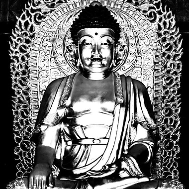 East Urban Home 'Buddha II' Photographic Print on Wrapped Canvas In Gray; 18'' H x 18'' W x 1.5'' D