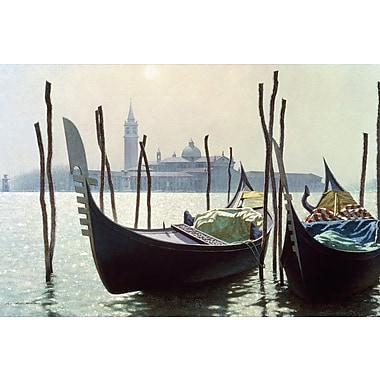 East Urban Home 'Gondolas in Venice' Rectangle Photographic Print on Wrapped Canvas