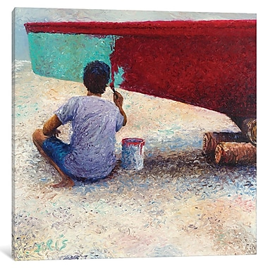 East Urban Home 'My Thai Boat Painter' Square Painting Print on Wrapped Canvas