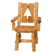 Fireside Lodge Traditional Cedar Log Cut Out Solid Wood Dining Chair; Pine Tree