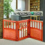Imperial Home Sturdy Wooden Freestanding Wide Pet Dog Lightweight Barrier Gate w/ Door