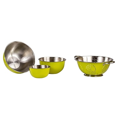 Imperial Home 3 Piece Stainless Steel Mixing Bowl Set w/ Kitchen Colander