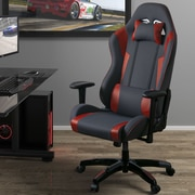 Latitude Run High Back Ergonomic Gaming Chair; Gray/Red