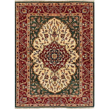 Fleur De Lis Living Castellanos Hand Knotted Rectangle Wool Ivory/Red Area Rug