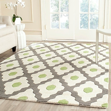 George Oliver Ellicott Hand-Tufted Gray/Ivory Area Rug; Rectangle 8' x 10'