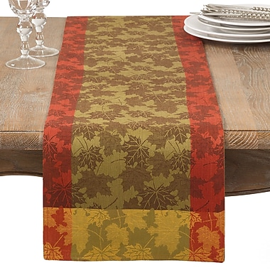 Loon Peak Arlington Fall Foliage Autumn Leaf Jacquard Cotton Table Runner