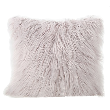 Mercer41 Beaufort Faux Fur Square Throw Pillow; Lavender
