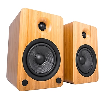 Kanto YU6 2 Way Powered Speakers with Bluetooth and Phono Preamp, Bamboo