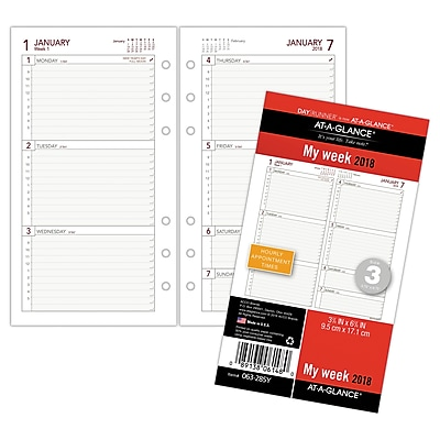 AT-A-GLANCE® Day Runner® Weekly Planner Refill, 12 Months, January Start, Loose-Leaf, 3 3/4