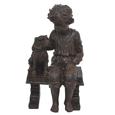 Three Hands Co. Boy w/ Dog on Bench Statue; Brown