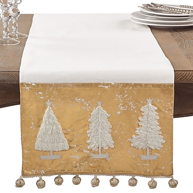 The Holiday Aisle Christmas Tree Pom Pom Winter Holiday Cotton Table Runner