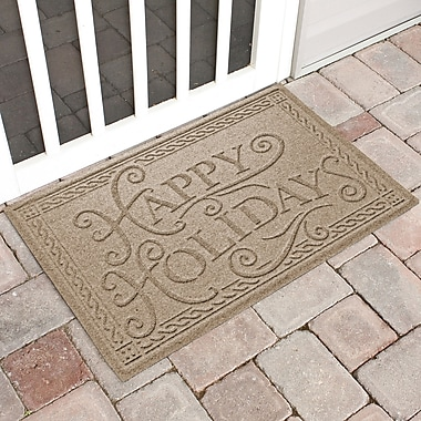 The Holiday Aisle Happy Holidays Outdoor Doormat; Camel