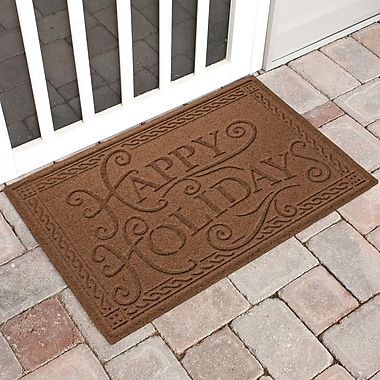The Holiday Aisle Happy Holidays Outdoor Doormat; Dark Brown