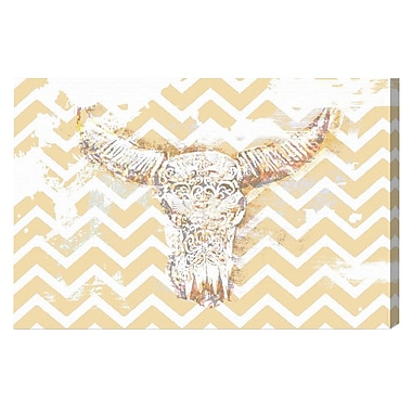 Bungalow Rose 'Chevron Skull' Graphic Art on Wrapped Canvas; 16'' H x 24'' W