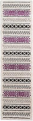 Bungalow Rose Landry Beige/Black/Purple Area Rug; Runner 2'7'' x 10'