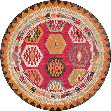 Bungalow Rose Phillips Red Area Rug; Round 6'