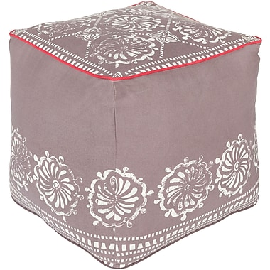 Bungalow Rose Wright Pouf Ottoman; Taupe/Ivory