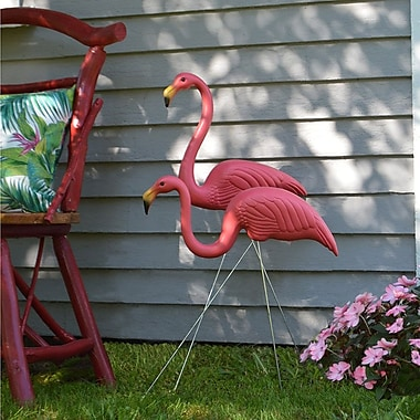 United Solutions Feather Stone Flamingo 2 Piece Statue Set