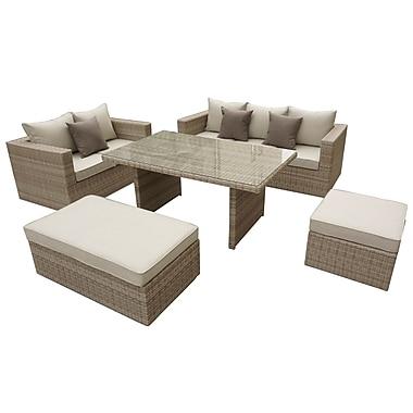 Willa Arlo Interiors Brinkley 5 Piece Seating Group w/ Cushion; Beige