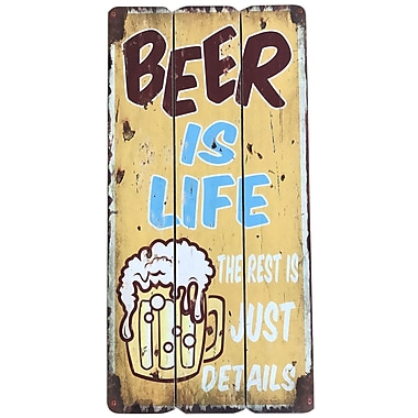 Winston Porter 'Sign w/ Beer Is Life' Vertical Graphic Art Print on Wood