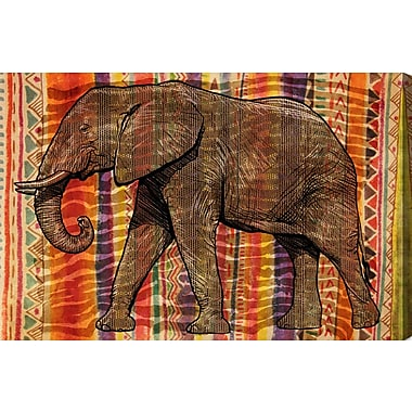 Bloomsbury Market 'Tribal Elephant' Graphic Art on Wrapped Canvas; 16'' H x 24'' W