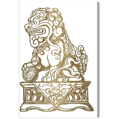 Bloomsbury Market 'Foo Dog Gold I' Graphic Art Print on Canvas; 72'' H x 48'' W x 2'' D