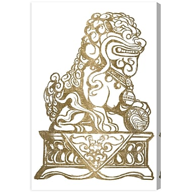 Bloomsbury Market 'Foo Dog Gold II' Graphic Art Print on Canvas; 81'' H x 54'' W x 2'' D
