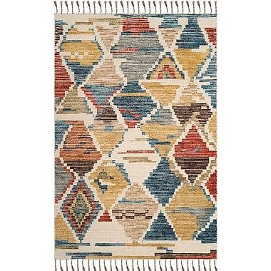 Bloomsbury Market Glenoe Hand-Knotted Red/Blue Area Rug; 9' x 12'