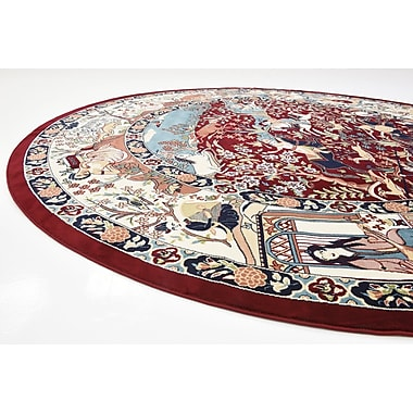 Bloomsbury Market Jadyn Burgundy/Tan Animal Print Area Rug; Round 10'