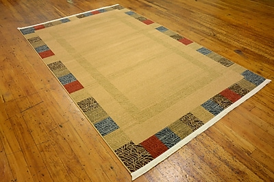 Bloomsbury Market Jan Beige Color Bordered Area Rug; 3'3'' x 5'3''