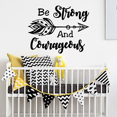 Decal House Be Strong and Courageous Wall Decal; Beige
