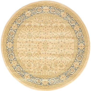 Bloomsbury Market Jamar Traditional Cream Area Rug; Round 6'