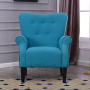 Charlton Home Naumann Roll Arm Linen Wood Leg Club Chair; Mallard Teal