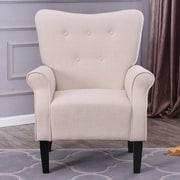 Charlton Home Naumann Roll Arm Linen Wood Leg Club Chair; Beige
