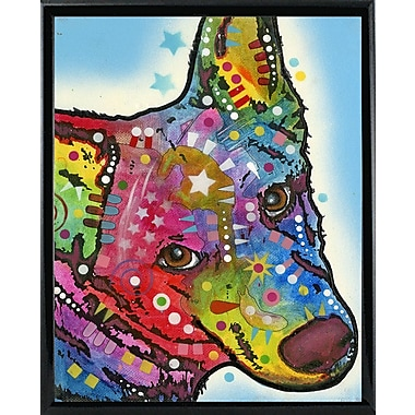 East Urban Home 'Aussie Sheep Dog' Graphic Art Print; Shiny Black Metal Framed