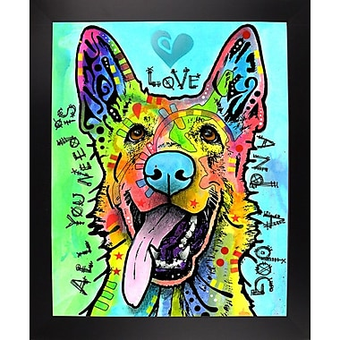 East Urban Home 'Love and a Dog' Graphic Art Print; Black Large Framed