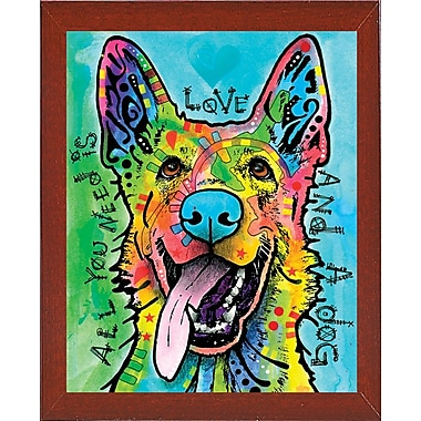East Urban Home 'Love and a Dog' Graphic Art Print; Red Mahogany Medium Framed