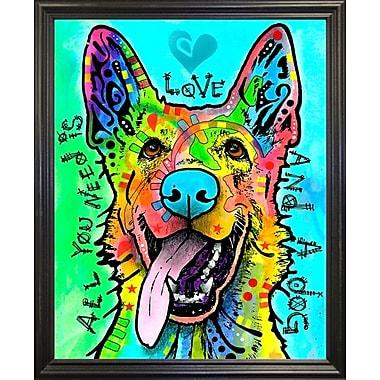East Urban Home 'Love and a Dog' Graphic Art Print; Black Grande Framed