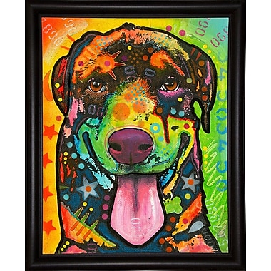 East Urban Home 'Rottie Pup' Graphic Art Print; Bistro Espresso Framed