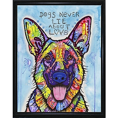 East Urban Home 'Dogs Never Lie' Graphic Art Print; Flat Black Metal Framed