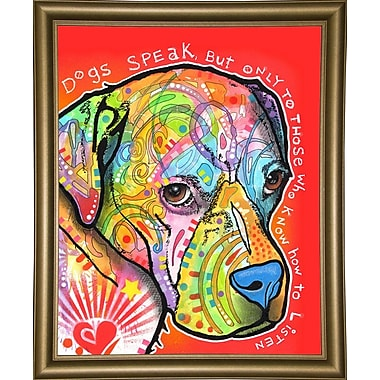 East Urban Home 'Dogs Speak' Graphic Art Print; Bistro Gold Framed