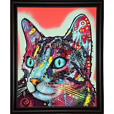 East Urban Home 'Curious Cat' Graphic Art Print; Bistro Espresso Framed