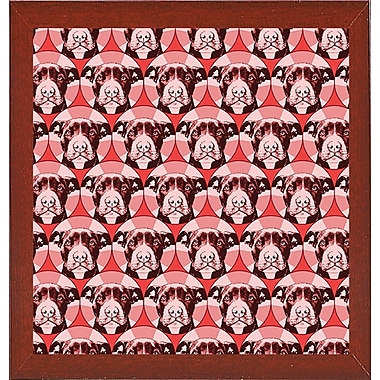 East Urban Home 'Love a Bull Pattern 1' Graphic Art Print; Red Mahogany Medium Framed