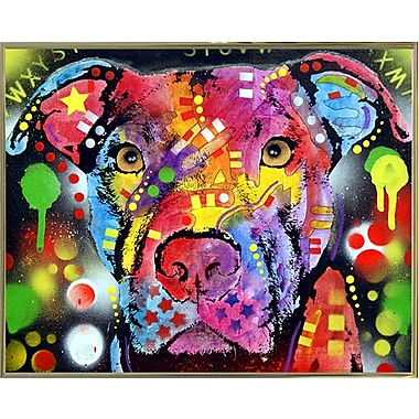 East Urban Home 'The Brooklyn Pit Bull' Graphic Art Print; Gold Metal Framed