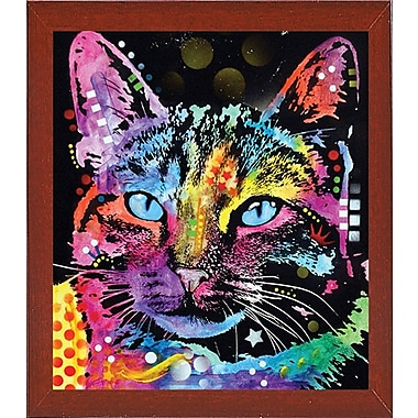 East Urban Home 'Thoughtful Cat' Graphic Art Print; Red Mahogany Medium Framed