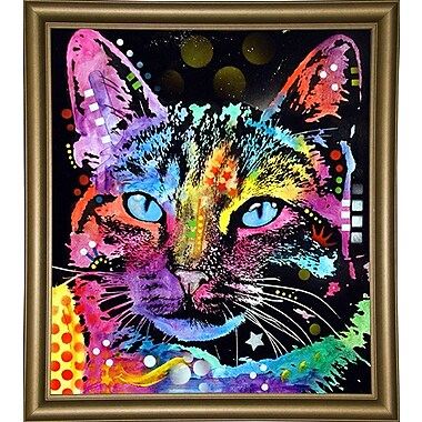 East Urban Home 'Thoughtful Cat' Graphic Art Print; Bistro Gold Framed