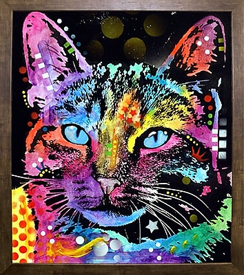 East Urban Home 'Thoughtful Cat' Graphic Art Print; Cafe Mocha Framed