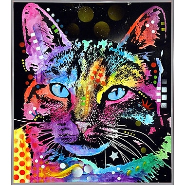 East Urban Home 'Thoughtful Cat' Graphic Art Print; White Metal Framed