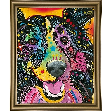 East Urban Home 'Smiling Collie' Graphic Art Print; Bistro Gold Framed
